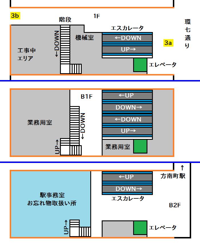 方南町駅3番出口階層図