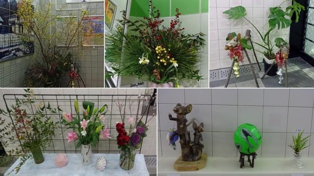 27横川SAの生花と飾り物