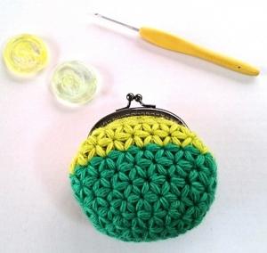 リフ編みがま口ポーチ