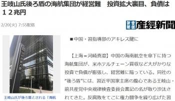 news王岐山氏後ろ盾の海航集団が経営難 投資拡大裏目、負債は12兆円