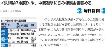 news<鉄鋼輸入制限>米、中間選挙にらみ保護主義強める