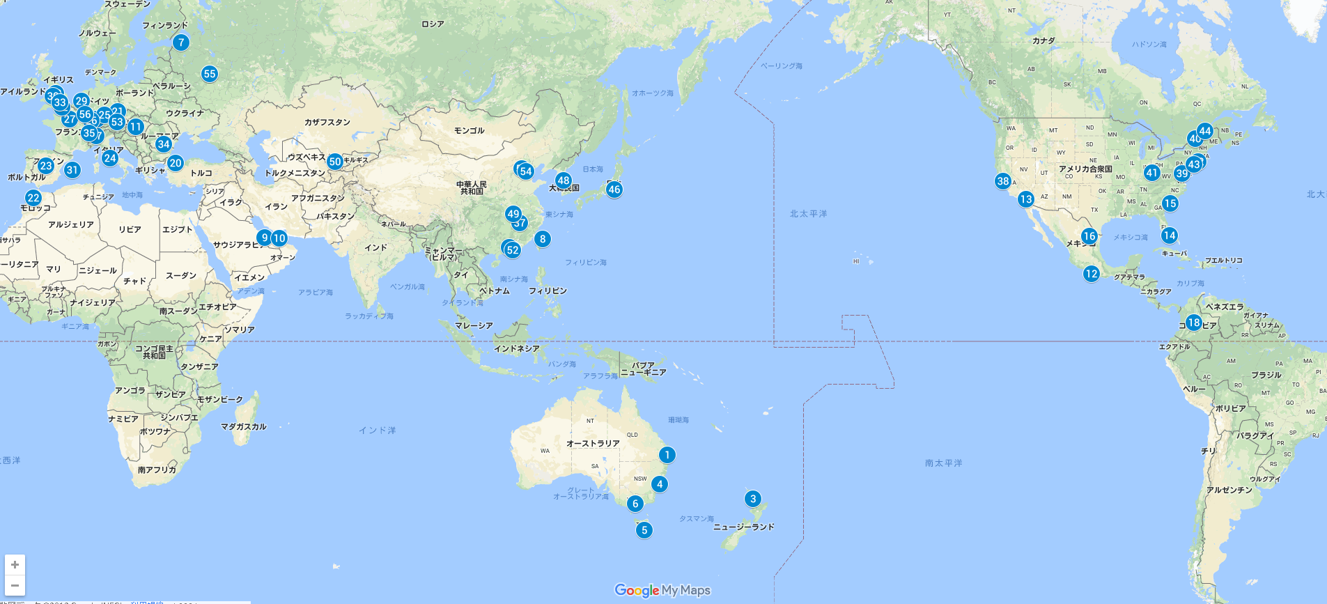 WTA開催地図