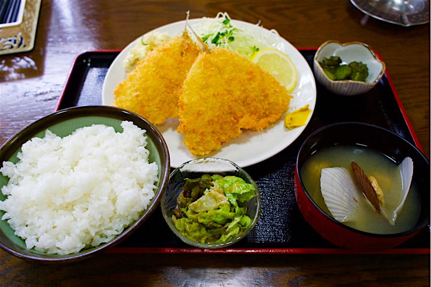 あか堀食堂@上三川町西汗 4 アジフライ定食