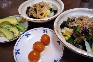 サラダ納豆と金柑甘酢