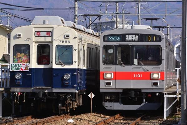2017年12月16日 上田電鉄別所線 城下 7200系7255編成/1000系1001編成