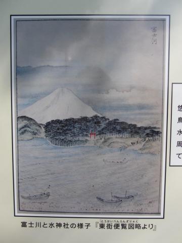 富士川と水神社の様子