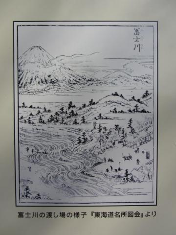 富士川の渡し場の様子