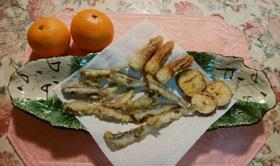晩御飯 鰯と野菜の天婦羅だけ作りました