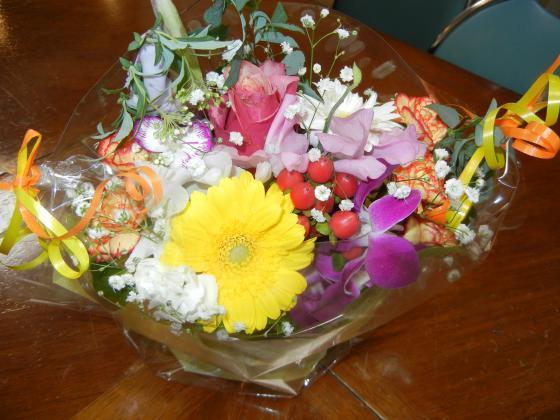 差し入れの花