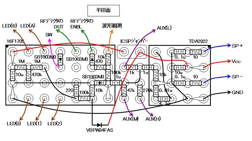 RF+IRチェッカーの製作配線図処理部2