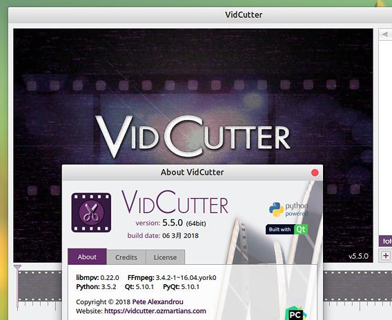 VidCutter 5.5.0 Ubuntu インストール