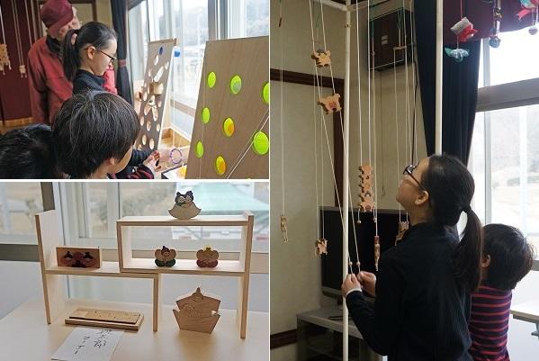 左上・ピンポン玉をカップに入れるゲーム、左下・手作り木製の桃太郎雛、右側・糸の調節でよじのぼる寄木細工