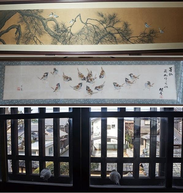 上・仲崎邸所蔵 東原方遷画『枝に止まる雀』、中・同『抜け雀』、下・今回のパフォーマンス 抜け出した雀が、表の雀を眺めている構図