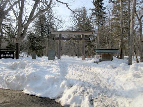 奥社への参道は雪が積もってます