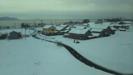 京都へ 雪景色 鵜川