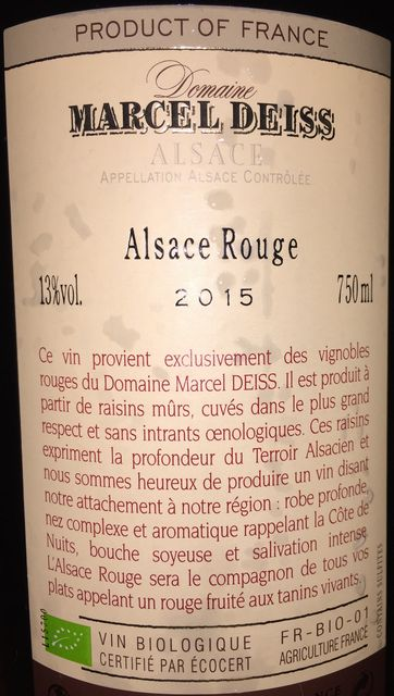 Alsace Rouge Marcel Deiss 2015 part2