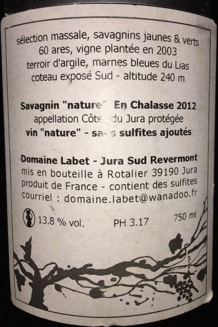 Fleur de Savagnin en Chalasse Domaine Labet 2012 part2