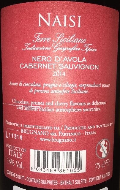 Ferre Siciliane Naisi Nero DAvola Cabernet Sauvignon Brugnano 2014 part2
