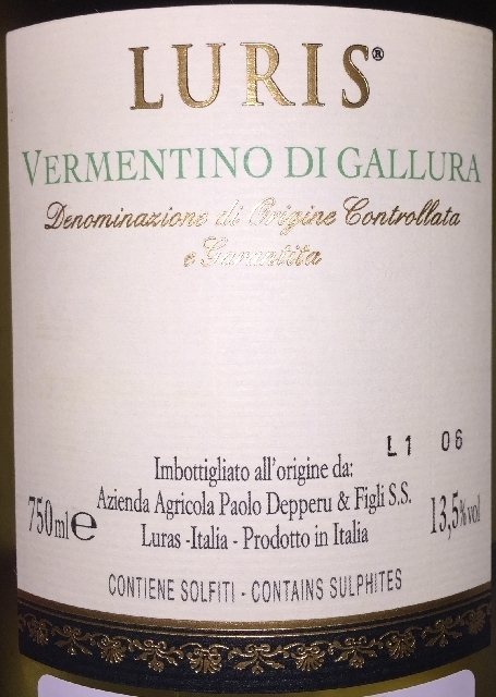 Luris Vermentino di Gallura Depperu 2016 part2