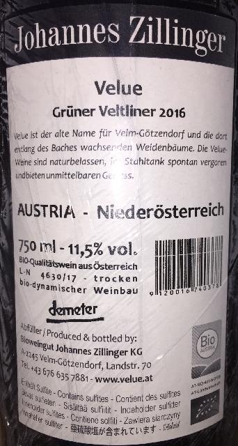 Velue Gruner Veltliner Johannes Zillinger 2016 part2
