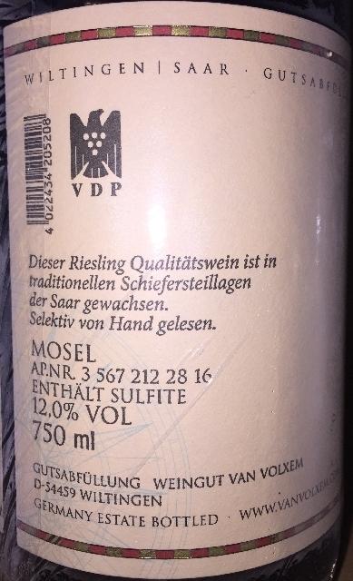 Saar Riesling Van Volxem 2015 part2