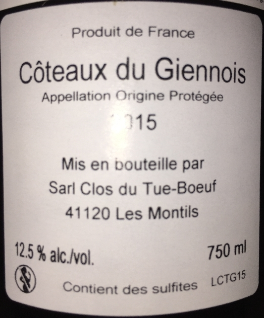 Coteaux du Giennois Clos du Tue Boeuf 2015 part2