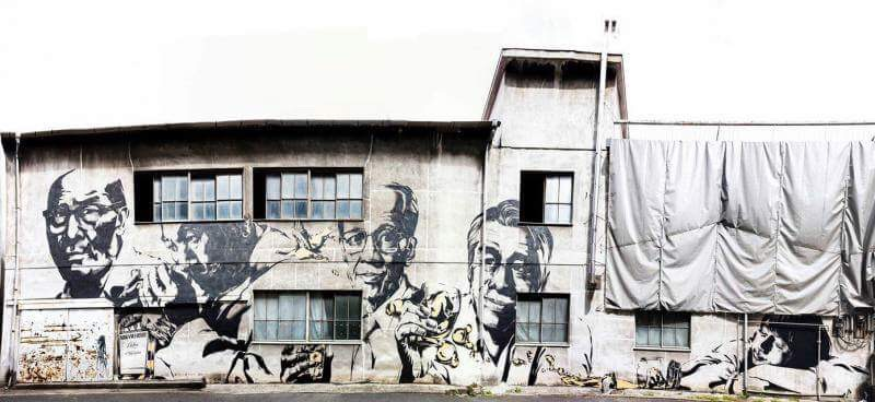 壁画 ・「鶴身印刷工場」1 - 画家・山本勇気の絵のつくり方