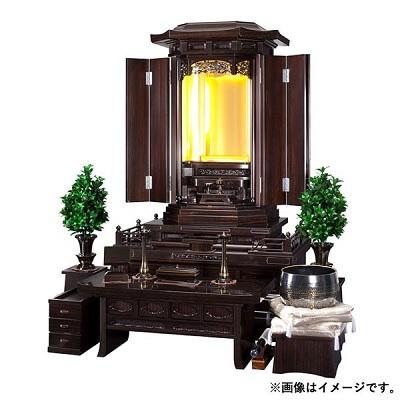 厨子型仏壇 (大仙 黒檀) 電動厨子扉 LEDライト お仏壇 創価学会 日本製
