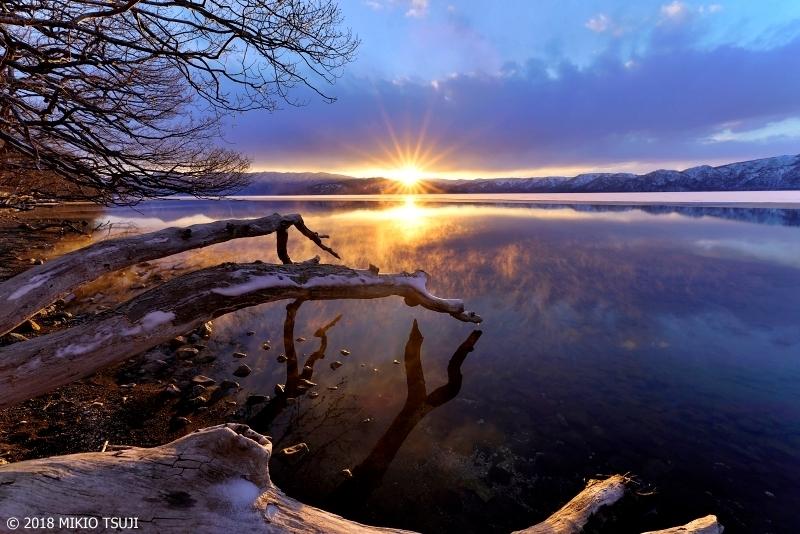 絶景探しの旅 - 0536 湯気立ち上る夕日の屈斜路湖 (北海道 弟子屈町)