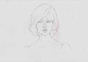 シルヴィ・ヴァルタンの鉛筆画似顔絵途中経過