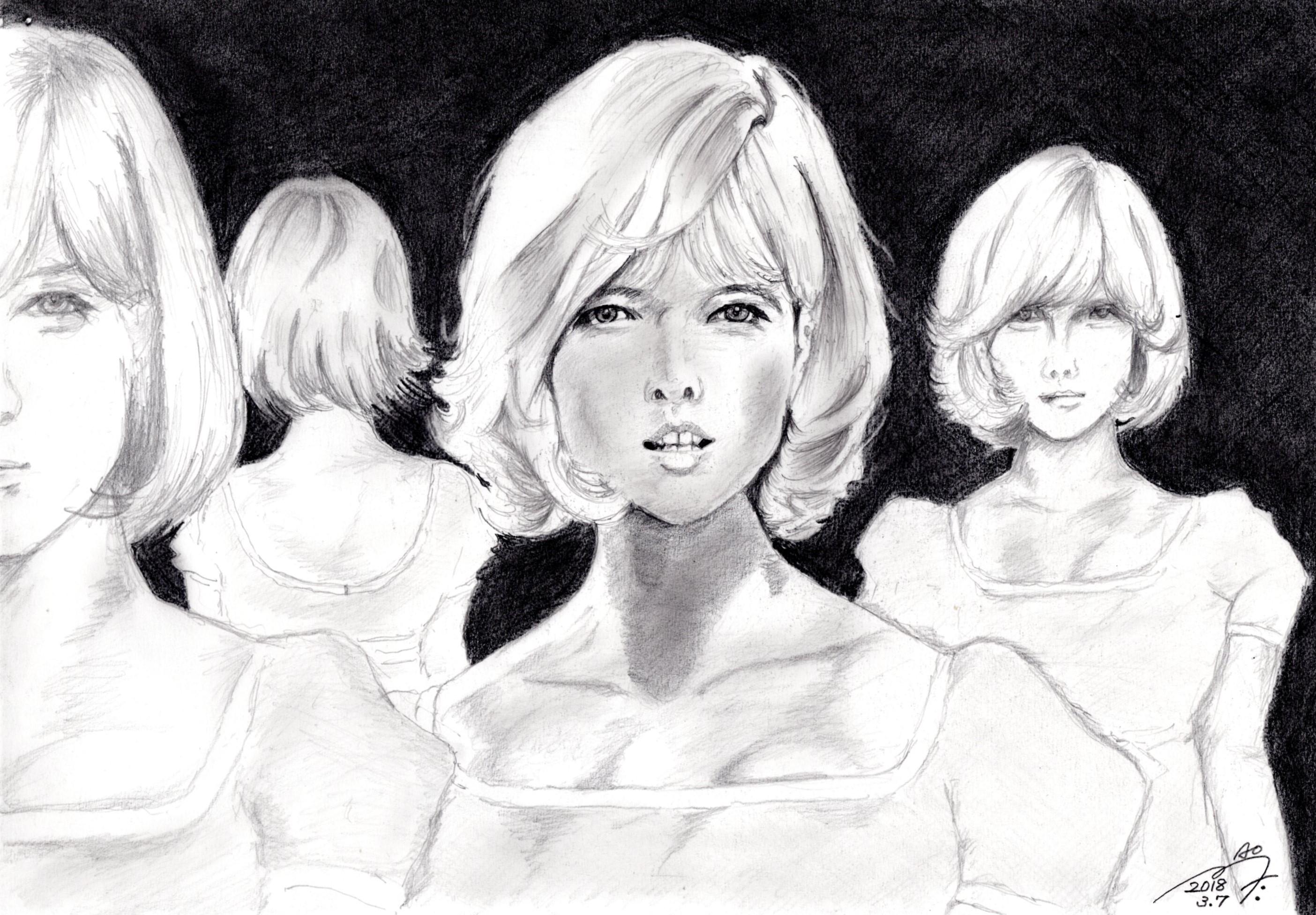 シルヴィ・ヴァルタンの鉛筆画似顔絵