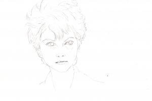 クラウディア・カルディナーレの鉛筆画似顔絵途中経過