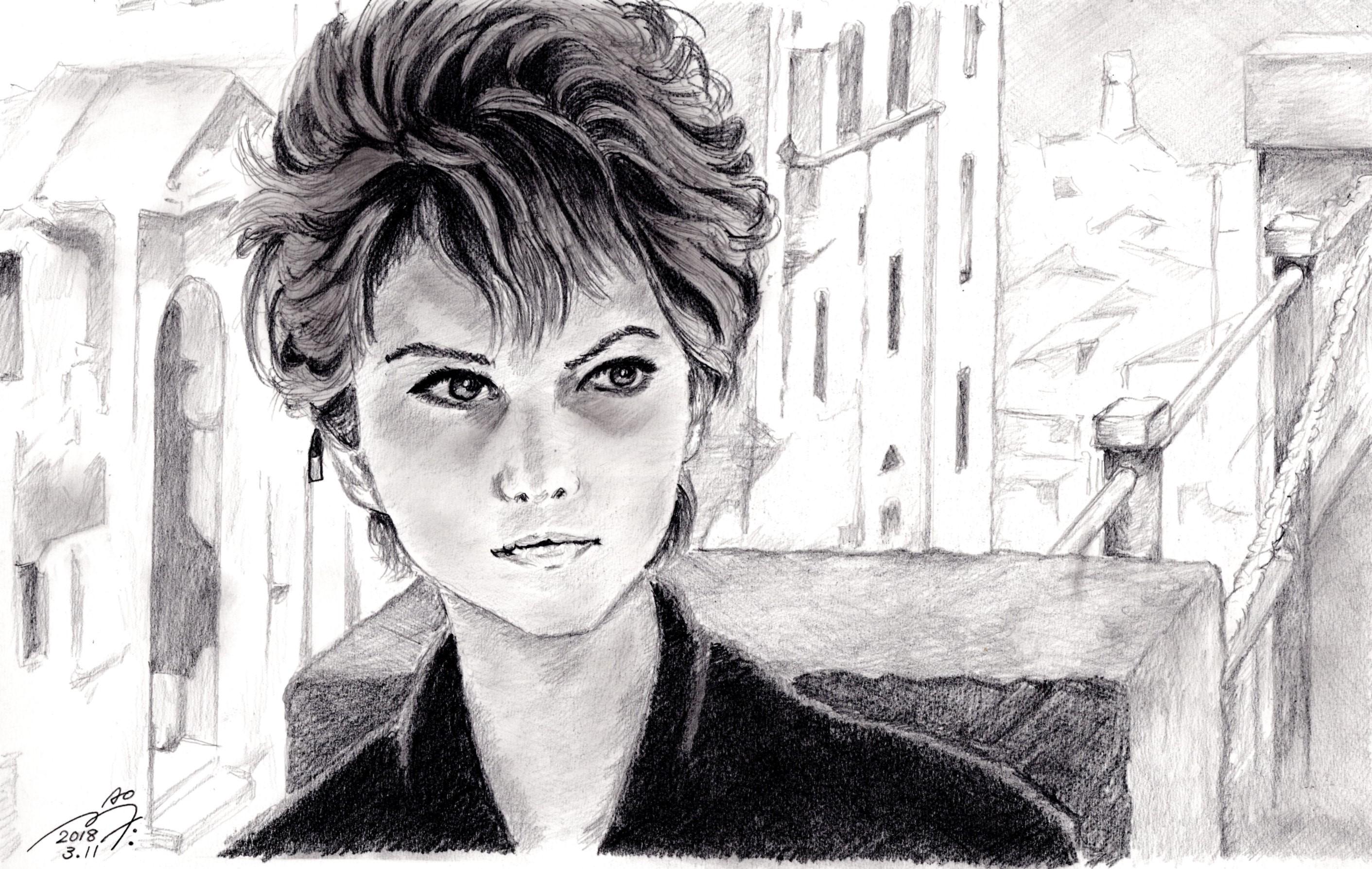 クラウディア・カルディナーレの鉛筆画似顔絵