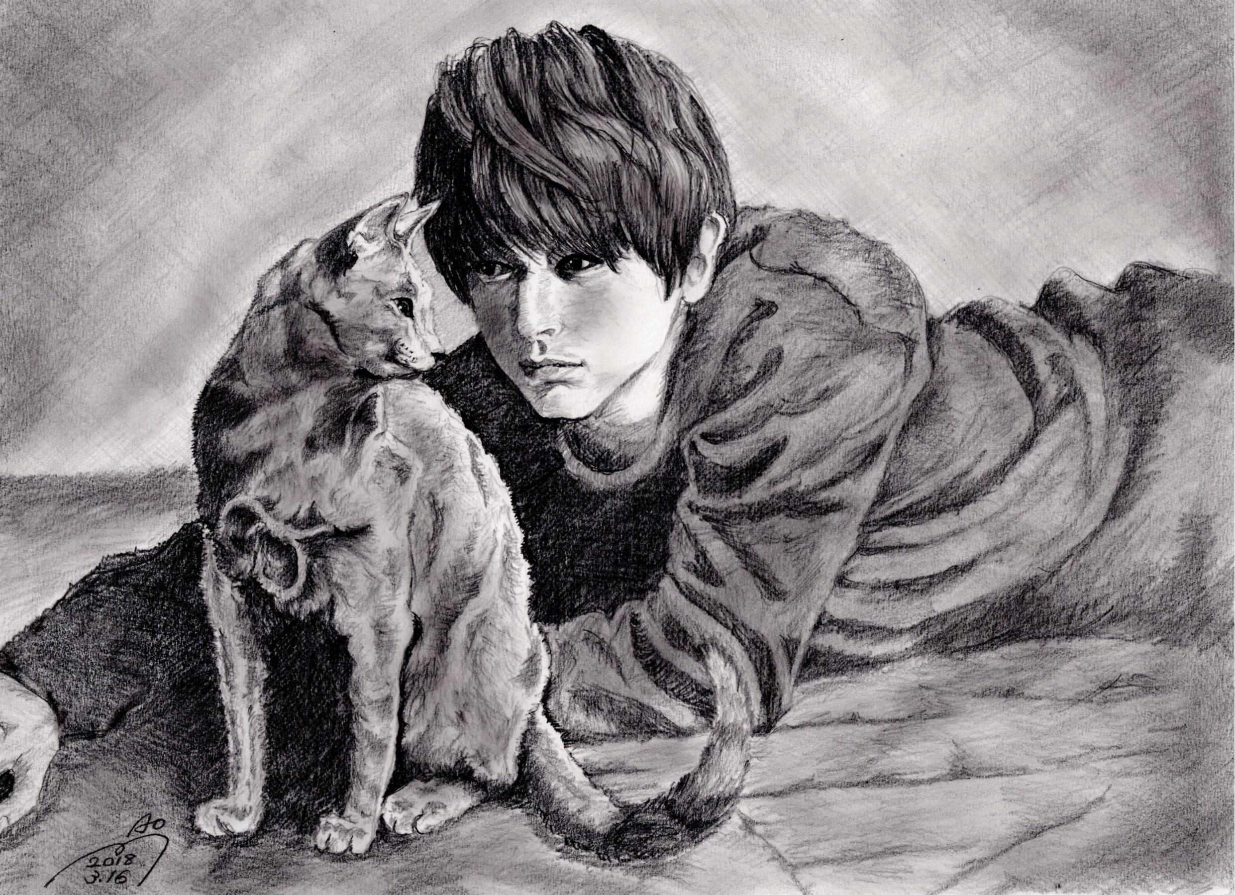 吉沢亮の鉛筆画似顔絵