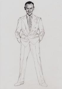 フレッド・アステアの鉛筆画似顔絵途中経過
