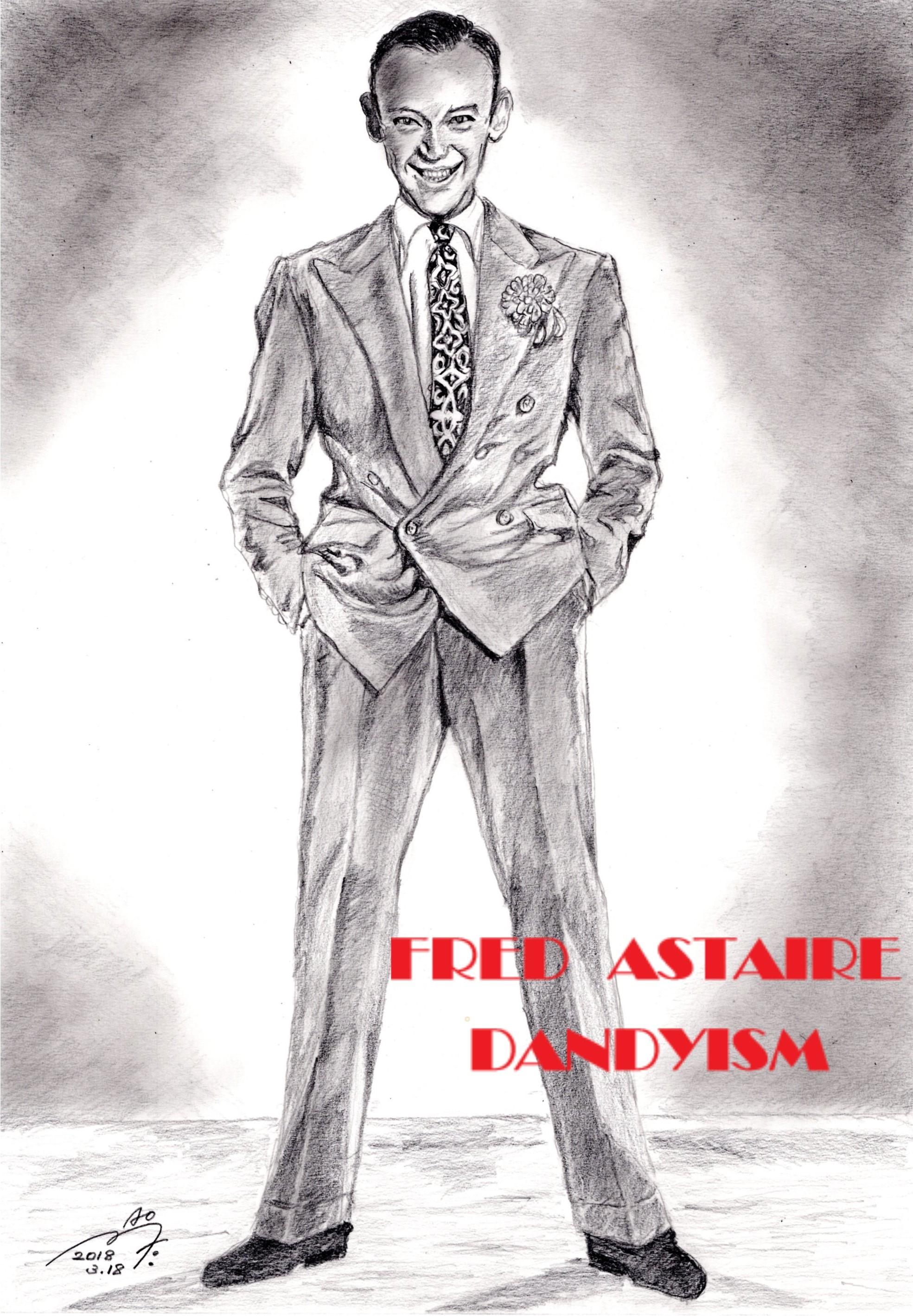 フレッド・アステアの鉛筆画似顔絵