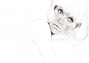 ミレーユ・ダルクの鉛筆画似顔絵途中経過