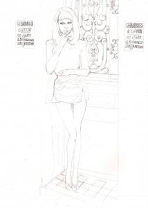ミレーユ・ダルクの鉛筆画似顔絵途中経過途中経過