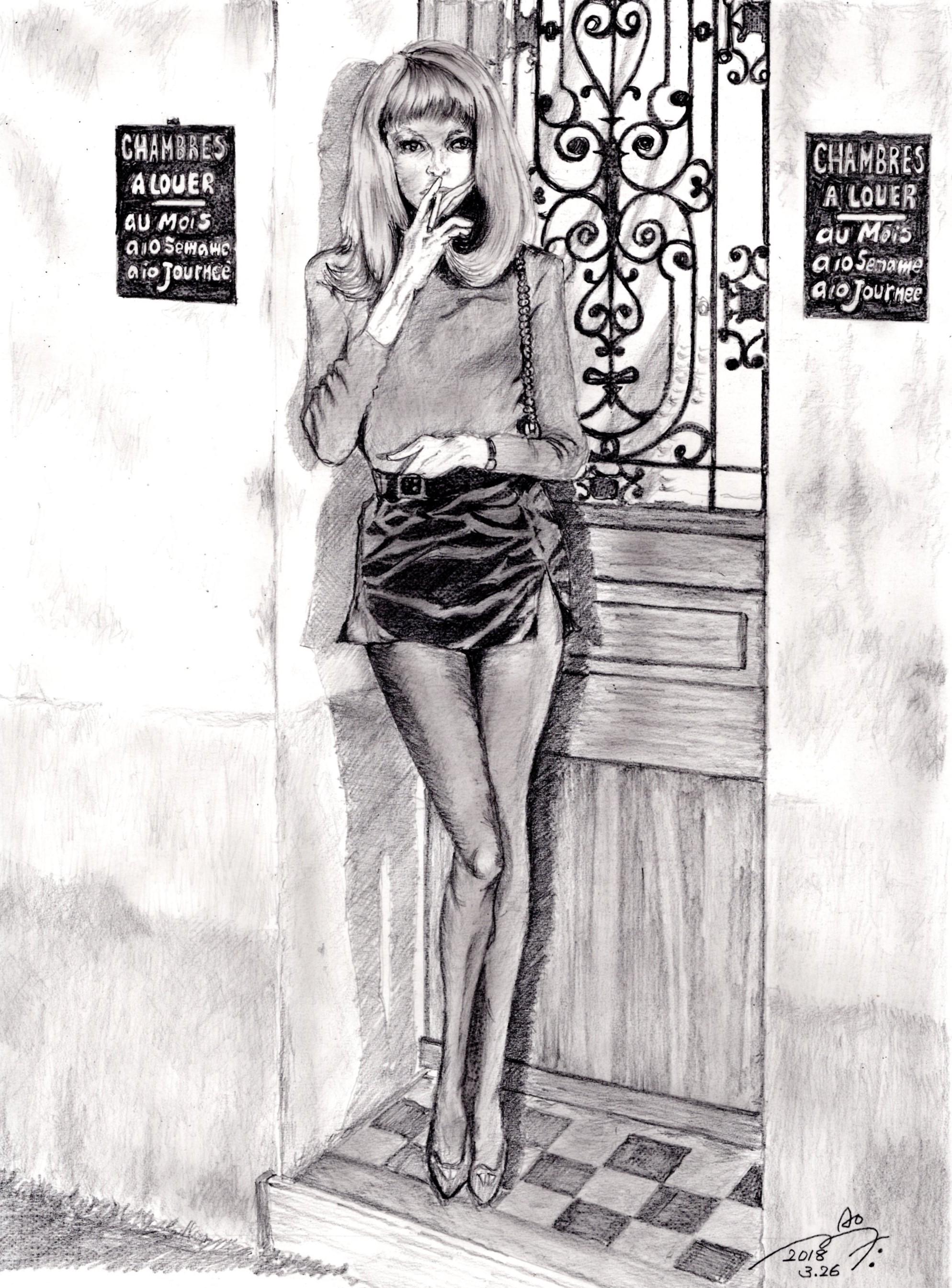 ミレーユ・ダルクの鉛筆画似顔絵