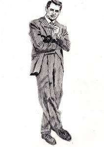 ケーリー・グラントの鉛筆画似顔絵途中経過