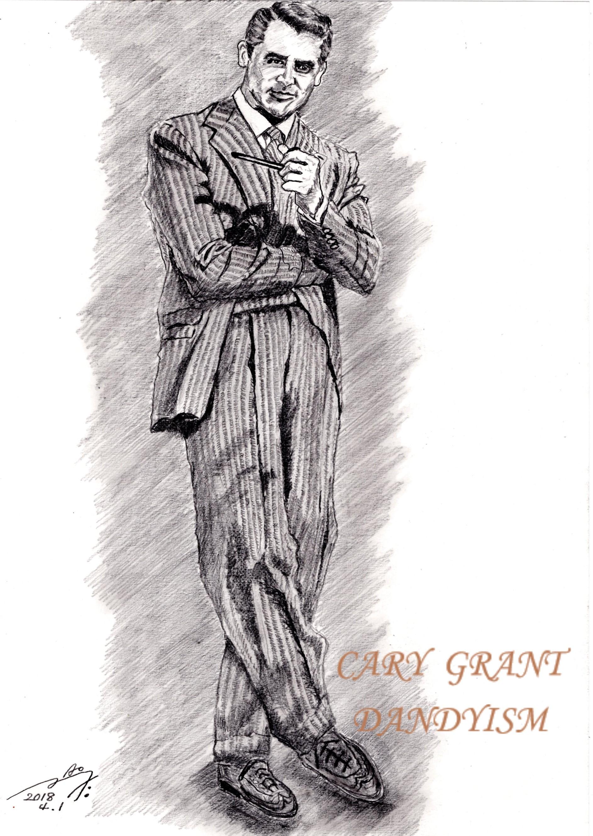 ケーリー・グラントの鉛筆画似顔絵、Cary Grannt penncil drawing