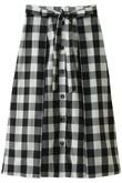 コットンギンガム前ボタンスカート